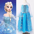 Novo 2015 venda quente da criança do bebê Da Menina da Neve Princesa Rainha Elsa Anna Traje Cosplay Fancy Dress 2-12Y Frete grátis