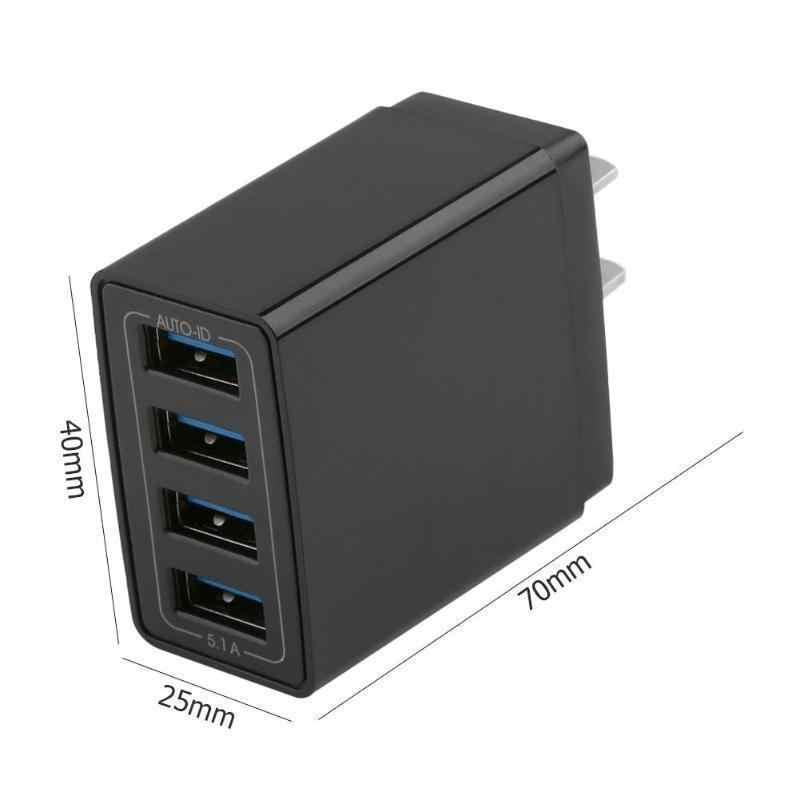 Universal 4 Port USB Charger Adapter 4A Bepergian Biaya Uni Eropa US Plug Multi Port Hub Charger untuk iPhone untuk Xiaomi pengisian Cepat 3.0