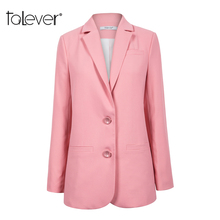 Women Fomale Office Work Blazer Female Casual Single Breasted Slim Pink Jacket 2018 Autumn Spring Lady OL Blazer Suits Talever