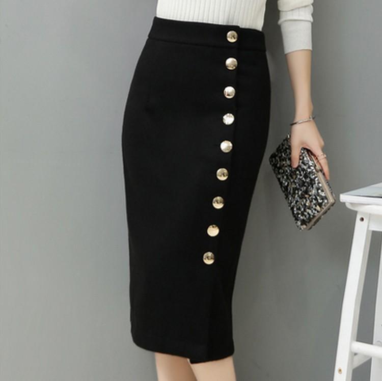 EXOTAO Autumn Winter Midi Skirt Single-Breasted High Waist Warm Saia Feminina Solid Pencil Skirt Office Ladies Fashion Faldas 8