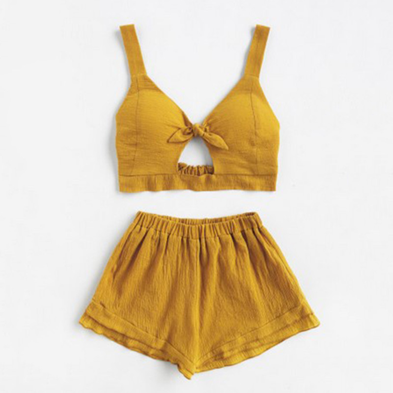 Women New Casual Fashion Solid Color Sleeveless Crop Top hot Pants Clothes Set boho sweet style