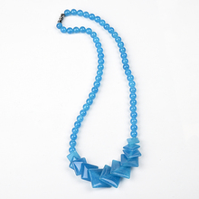 Pure blue is perfect circle gem  Sky blue Ja-sp-er semiprecious necklace, blue and blue let a person enchanted meterk blue
