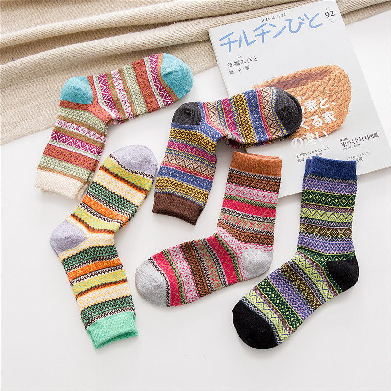 Image 2 - Winter New Products Warm Thicken National Wind Women's Wool Socks Medium Tube Rabbit Wool Socks Factory Wholesale 5 pairs-in Socks from Underwear & Sleepwears