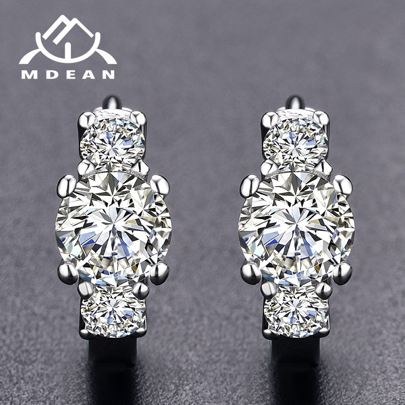 MDEAN White Gold Color Brincos AAA Zircon Hoop Earrings for Women Wedding Boucle Doreille Jewelry Earrings MSE012