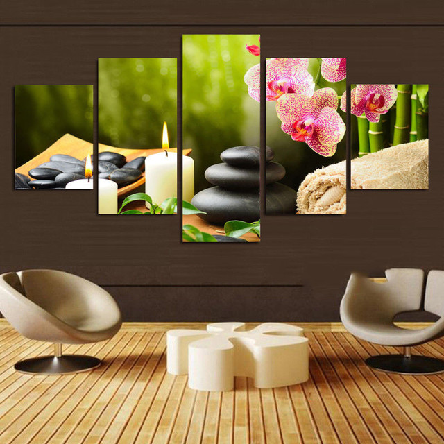 Flowers Pebbles Candles 5 Panels Wall Art Canvas Paintings Wall Decora For  Living Room Home Office