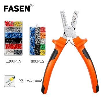 цена на PZ 0.25-2.5 1200pcs Cable Wire Terminal Connector with Hand Ferrules 2.5 Crimper Plier Crimp Tool Kit Set AWG 10-23