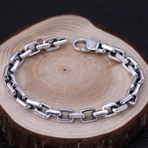 Handmade 100% 925 Silver Man Bracelet Thai Silver Chain Bracelet Vintage Sterling Bracelet Jewelry Gift 9mm handmade thailand 925 siilver bracelet vintage sterling silver chain bracelet pure silver man bracelet