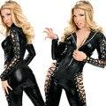 Fetish Bondage Women Bodysuit Latex Clothing Erotic Black Catsuit Sexy Zentai Spandex Costumes Pole Dance Leather Catwomen