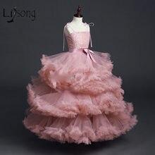 Платье пачка для девочек длинное платье с цветочным узором и