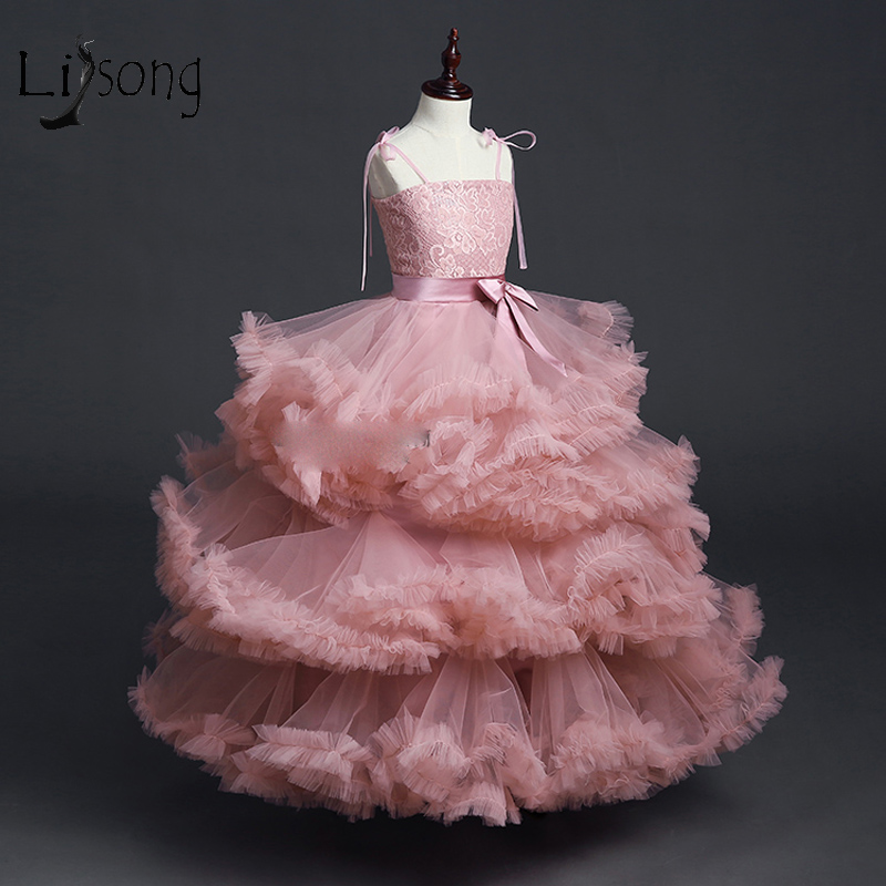 Pretty 2018 Dusty Pink Tutu Pageant   Dresses   For   Girls   Lace Bow Long   Flower     Girl     Dress   Ball Gowns Kids Communion   Dresses