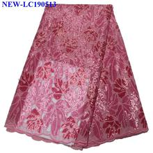 Африканский тюль кружевной ткани Французский тюль с блестками Высокое качество Африканский французский блестки тюль кружева ткань для женщин платье FXS01