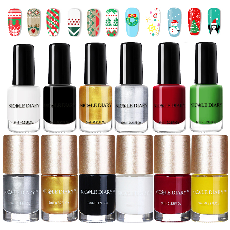 NICOLE DIARY 9ml Nail Art Stamping Polish Basic Gold White Stamp Lacquer Varnish Polish 13 Colors For Christmas Printing Plate