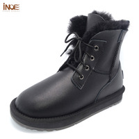 Real Sheepskin Leather Sheep Fur Lined Women Ankle Winter Snow Boots For Women Casual Winter Shoes