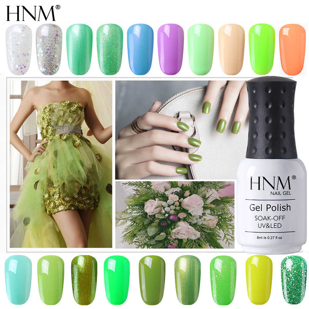 HNM 8ml New Green Yellow Color UV Gel Nail Polish Varnish Soak Off LED Lamp Hybird GelLak For Manicure Nail Art Stamping Lacquer