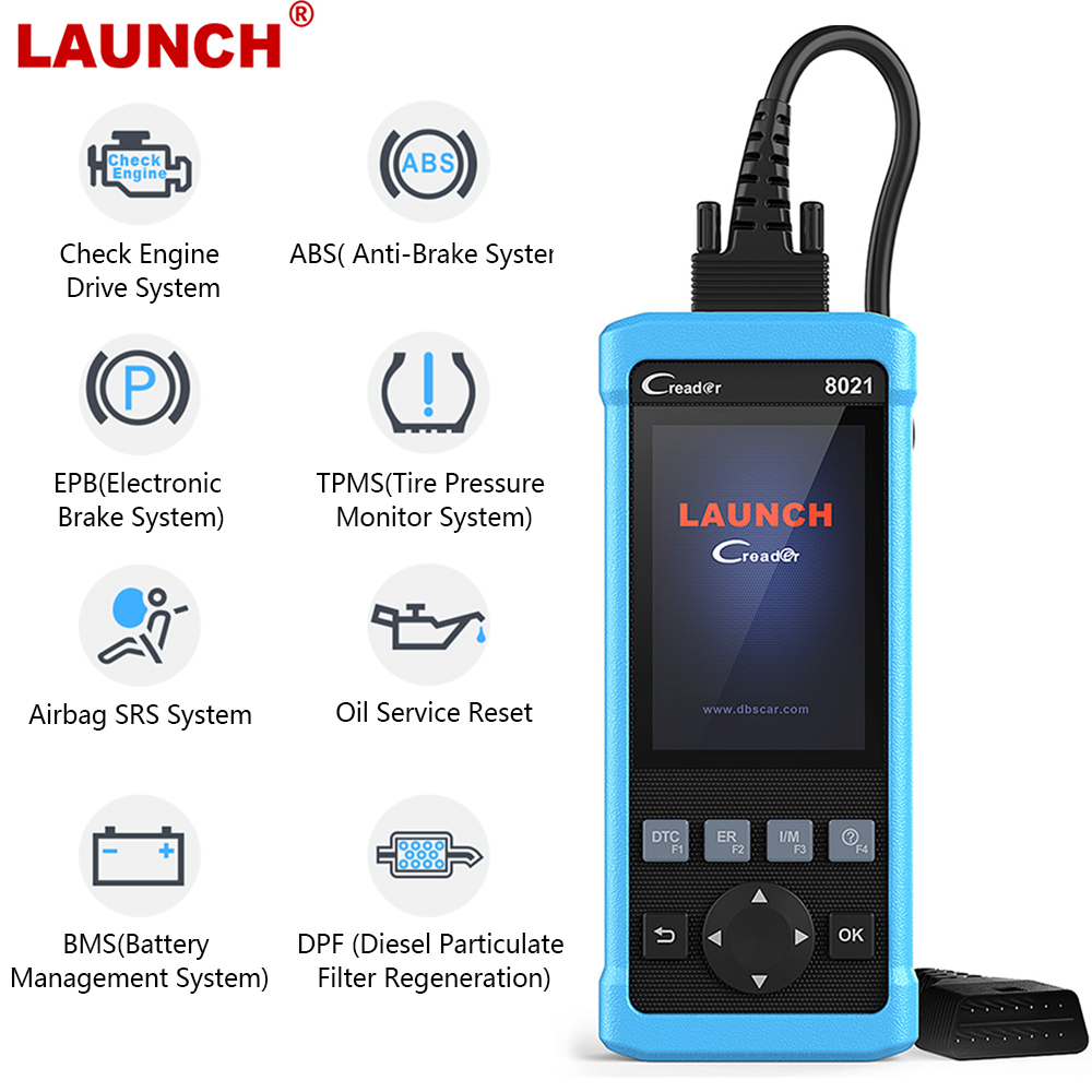 Launch CReader CR8021 OBD2 Scanner Diagnostic Scanner for Car DPF  Regeneration Oil Service Reset ABS SRS EPB TPMS BMS ODB2