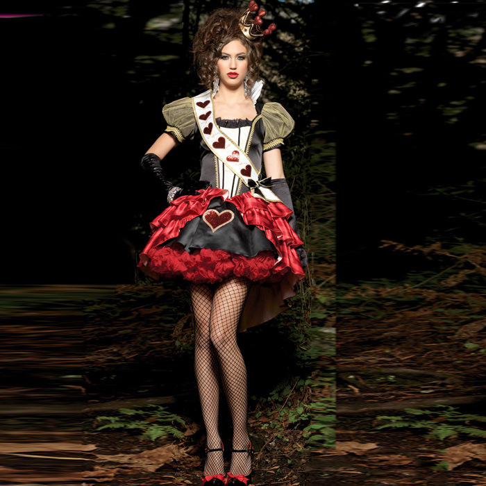 High quality Poker Red Queen of Hearts Costume club Carnival Party Queen cosplay dress New Halloween Costumes for Women