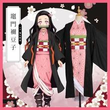 Аниме «Demon Slayer Kamado Nezuko», костюмы для косплея, Kimetsu no Yaiba, женские розовые кимоно, костюмы на Хэллоуин для женщин