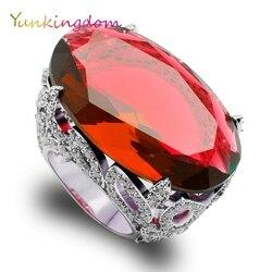 Yunkingdom oval grande de noche de lujo de banquete anillos de zirconia cúbica roja anillo de dedo mujer San Valentín regalos