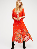 2019 famous brand dress V neck boho sequined embroidery maxi dress elegant transparent voile long dress cute dress vestidos