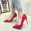 2016 новая мода принцесса Женская обувь в порядке с острыми красный Женщин туфли на каблуках Женщины насосы прополка обувь