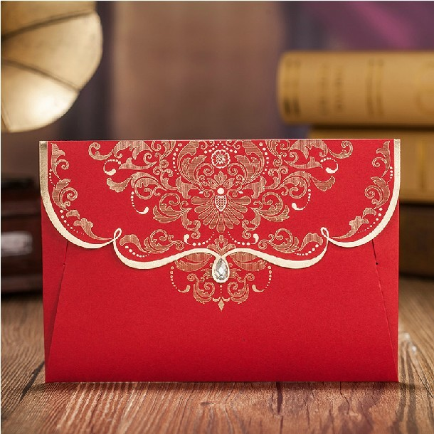 Gold Flower Wedding Invitations With Diamond 2015 Fall Red Chinese Style Invites Card Inner Page