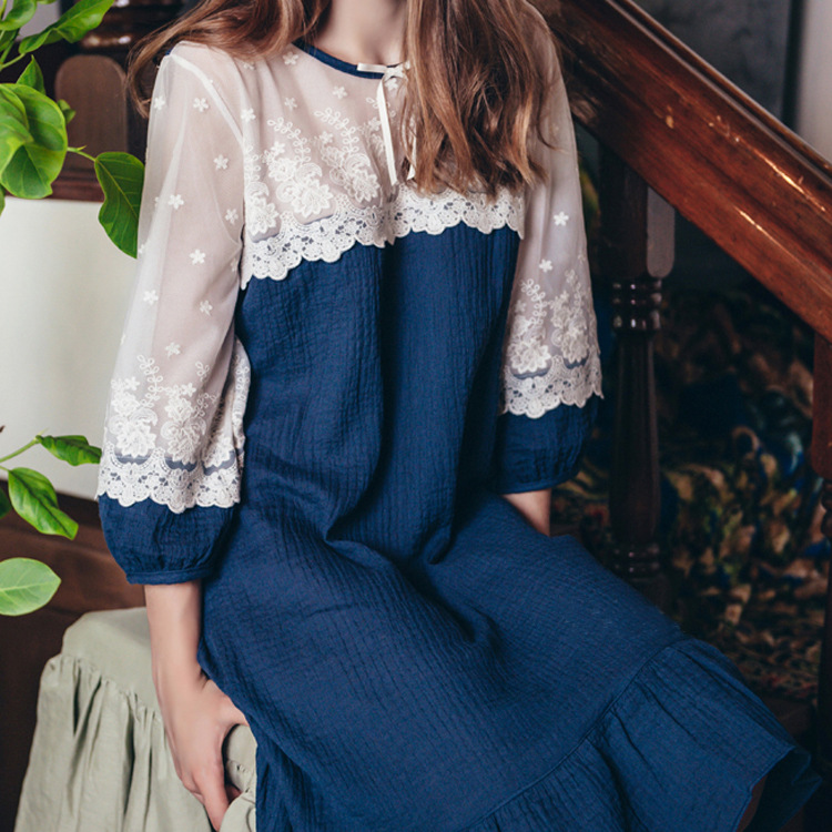 Spring Summer Women Elegant Vintage Nightgowns Cotton Princess Dress Sexy Hollow Out O-Neck Lace Home Dress For Sleeping