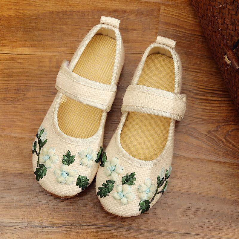Filles chaussures fleur broderie enfants chaussures chinois tissu traditionnel enfants chaussures princesse chaussures de danse 100459 - 3