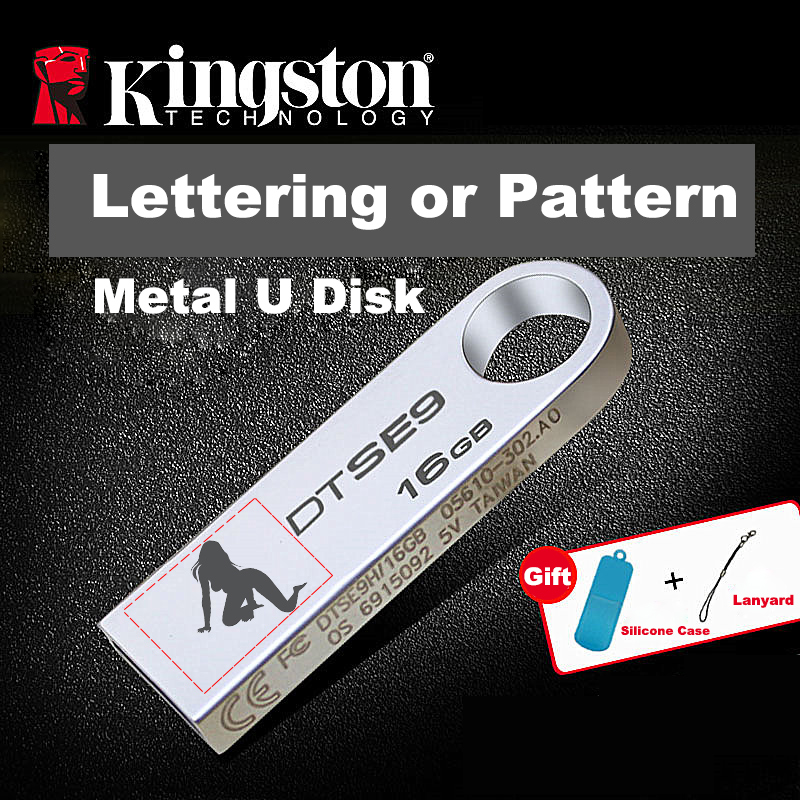 Kingston Usb Flash Drive 16gb Memory Stick Metal cle usb Pen Drive Custom Lettering or Pattern Logo Udisk Flash Memoria Pendrive