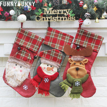 FUNNYBUNNY Christmas Stockings Candy Home Decoration Xmas Tree Hanging Ornament Childrens Favorite Festival Present Packing