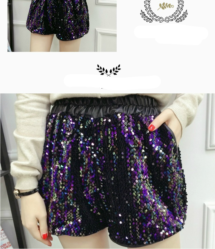 33fcfc3f8a3 LYFZOUS Plus Size Sexy Pu Leather Sequined Shorts Women High Waist ...