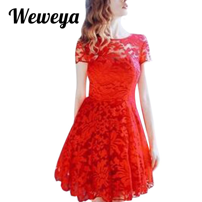 Weweya Women Floral Lace Dresses Short Sleeve Casual