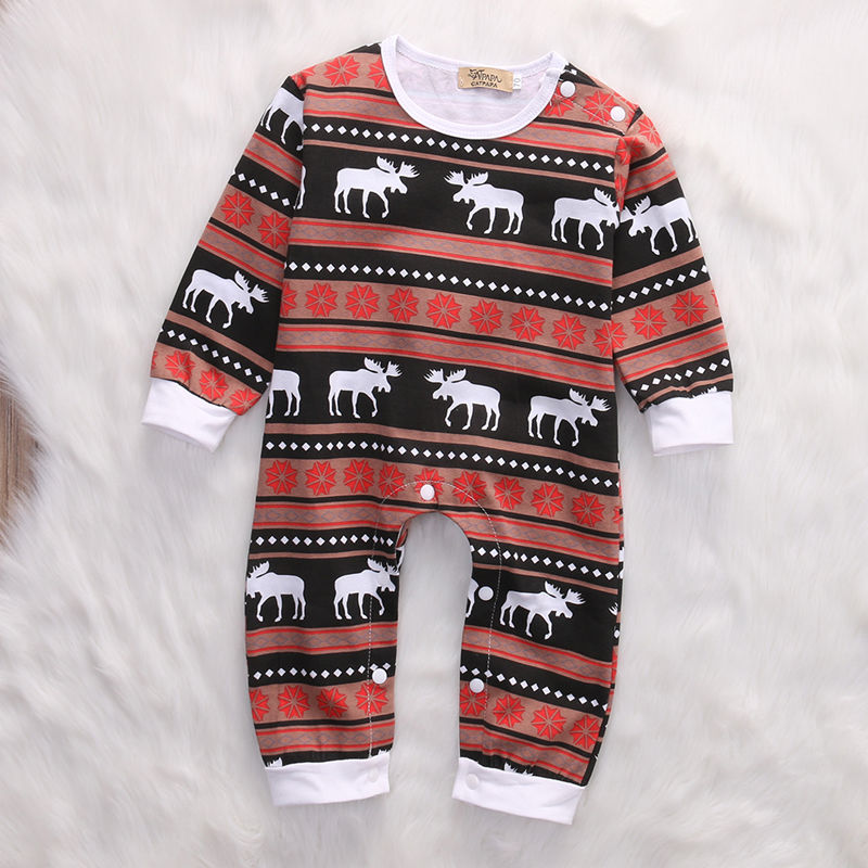 3ddb0cc4dc17 Newborn Christmas Baby Boy Girl Clothes XMAS Deer Long Sleeve Romper ...