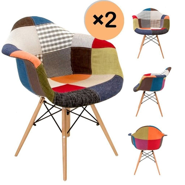 2pcs Modern Patchwork Armchair Retro Fabric Wood Legs Dining Chair Dropshipping