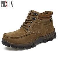 ROXDIA genuino vaquero de cuero para hombres tobillo botas de nieve de invierno cálidos a prueba de agua zapatos de seguridad masculinos más el tamaño 39-47 RXM052