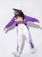 Women Clothing Girls Jazz Dance Clothing Loose Tide Autumn Children's Hiphop Hip-hop Clothes Female Korean The Costume Suit(China)