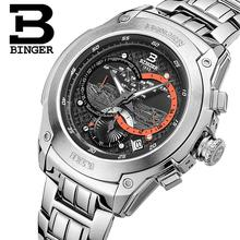 Switzerland men's watch luxury brand clock BINGER Quartz men watches full stainless steel Chronograph Diver glowwatch B6013-2