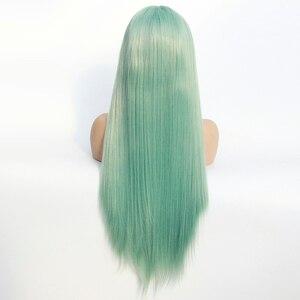Image 5 - 민트 그린 가발 긴 반 손 묶여 합성 가발 자연 스트레이트 glueless 가발 여성을위한 내열성 섬유