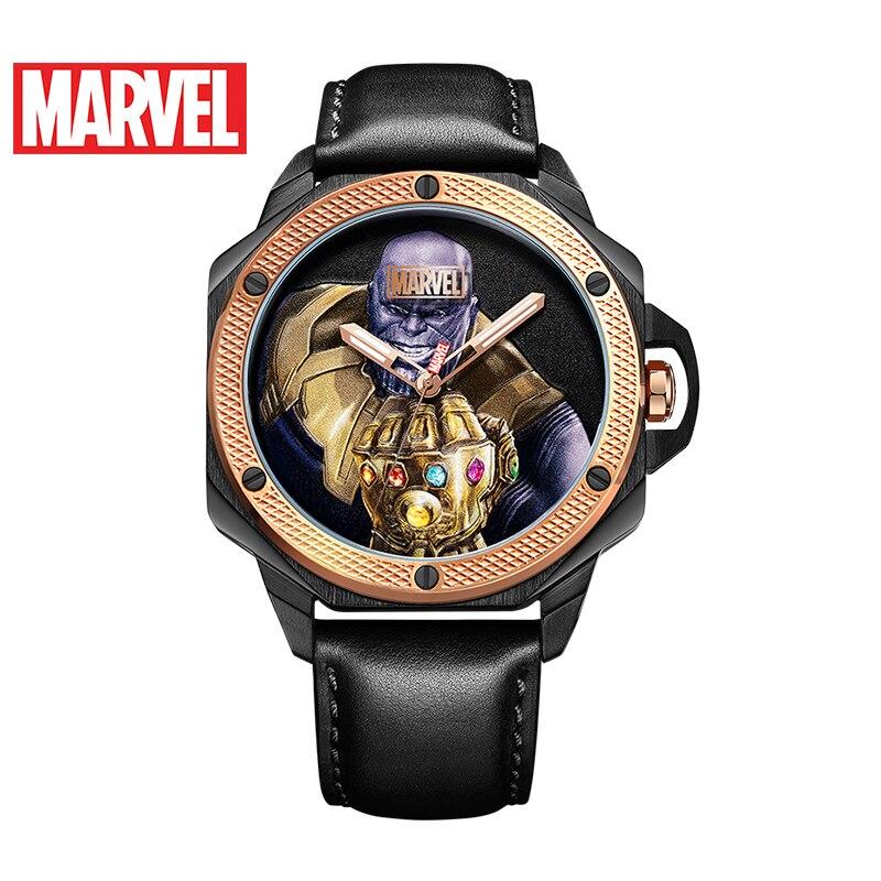 Marvel Avengers Thanos hommes noir or bleu processus de dessin lumineux étanche montre à Quartz Original Disney homme Sport montres
