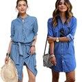 Мода Женщины Синие Джинсы Рубашка Дамы Однобортный Платье Midi Пояс Повседневная Свободную Рубашку Платье