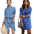 Fashion Women Blue Jeans Denim Shirt Dress Ladies Single Breasted Dress Midi Belt Casual Loose Shirt Dress