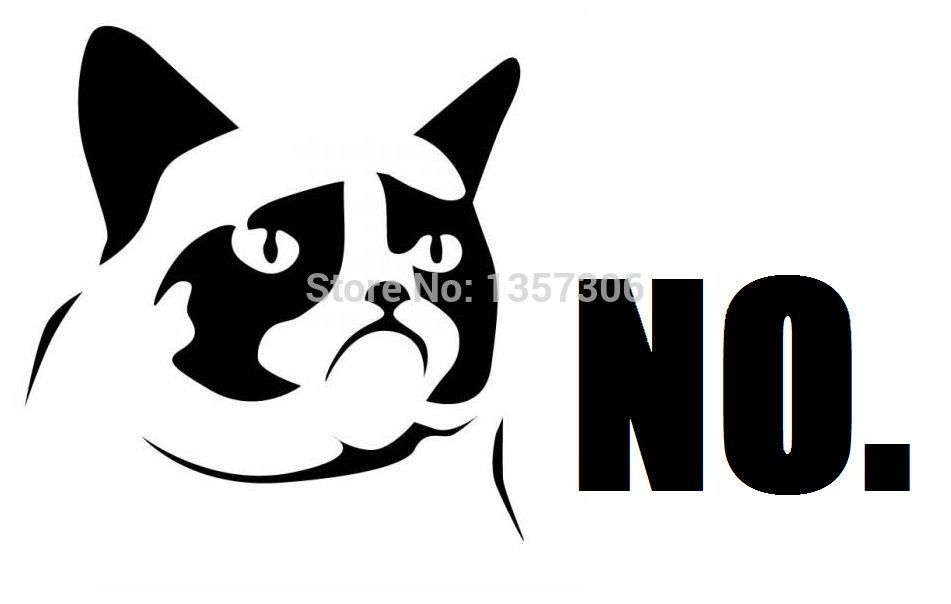 Car styling Funny Grumpy Cat NO Car Sticker Waterproof Decals and Stickers for all Cars Hot Selling