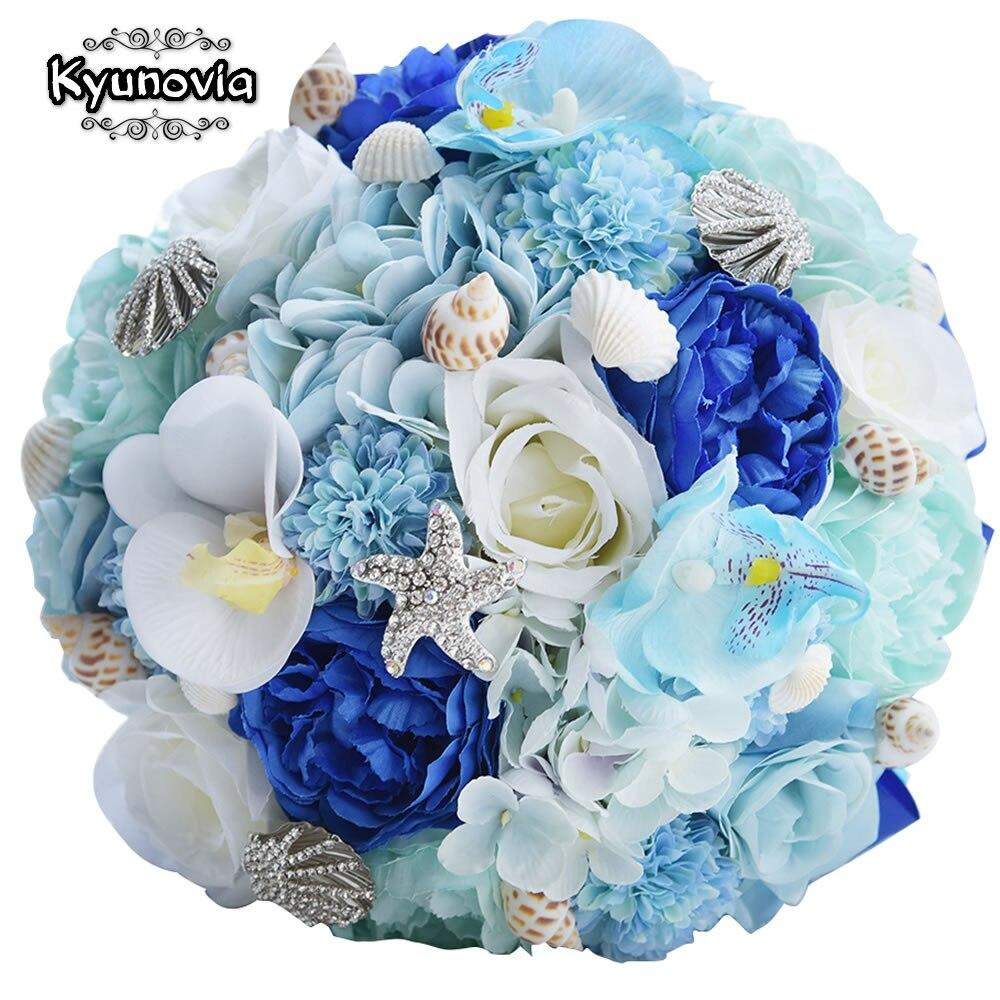 Kyunovia Seashell Wedding Bouquet Silk Wedding Flowers Hydrangea Garden Bouquets Blue Beach Bouquet Starfish Bridal Bouquet