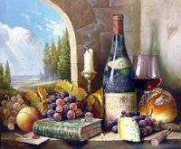 Classic Still Life Hand Painted Oil Painting Glass of Red Wine with Grapes Books and Peach Blue Sky Green Trees Drop shipping