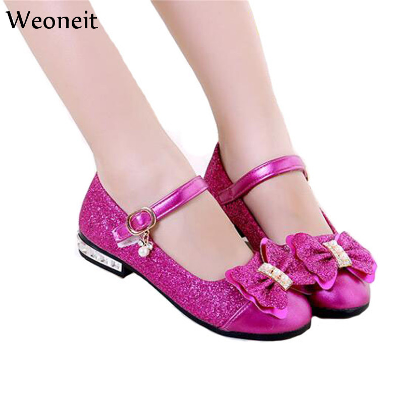 Kids shoes pink gold for Girls dress shoes for wedding