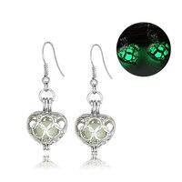 Fashion Luminous Hollow Heart Alloy Drop Hook Earrings Women Lady Jewelry Gift