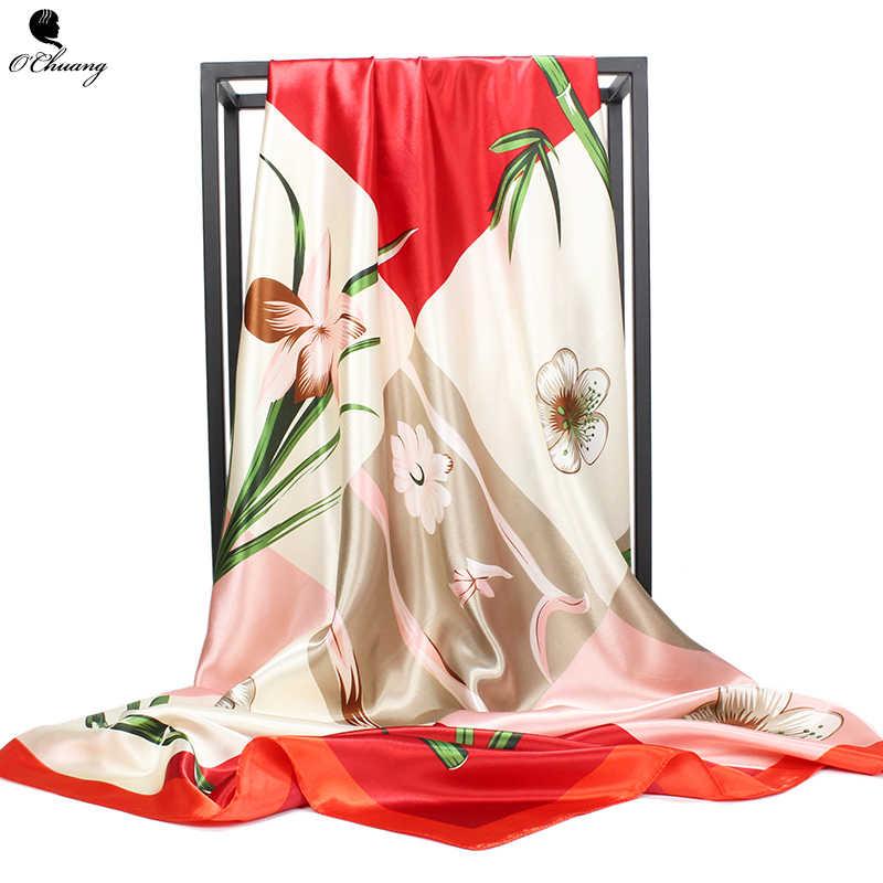 Moda Lenço De Seda Da Cópia Da Flor de Luxo Da Marca Xale Sentimento Macio e Parece Brilhante Cabeça Foulard Mulheres Lenços Quadrados 90X90