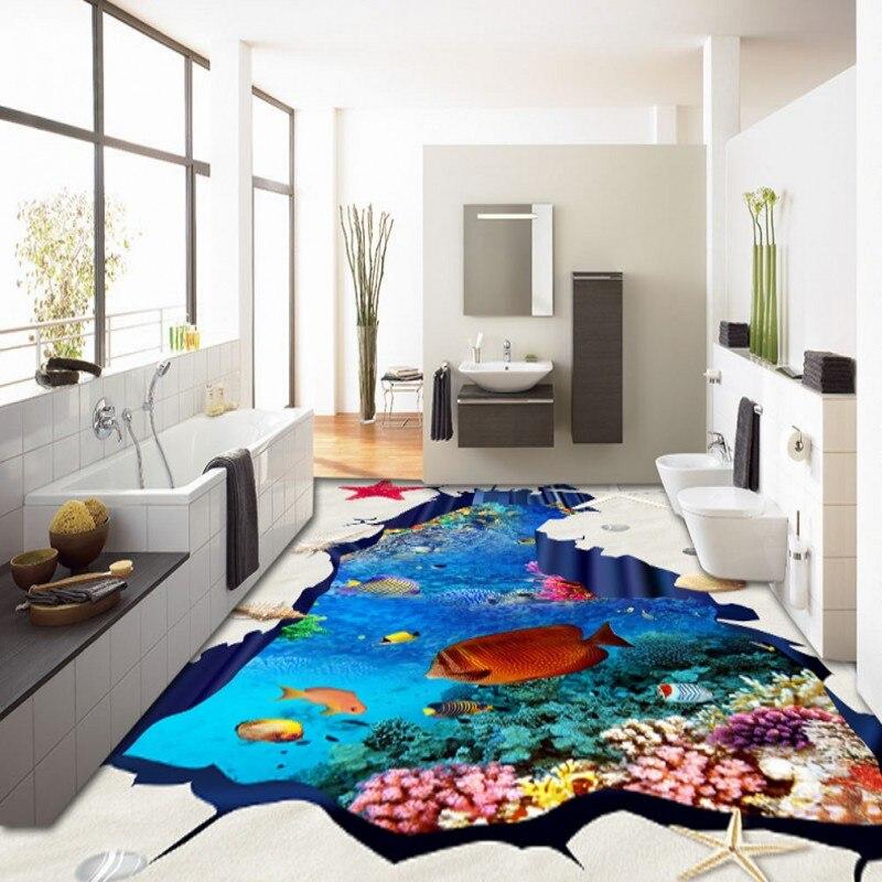 ФОТО Free Shipping Beautiful underwater world tropical fish flooring wallpaper bedroom street decorative waterproof floor mural