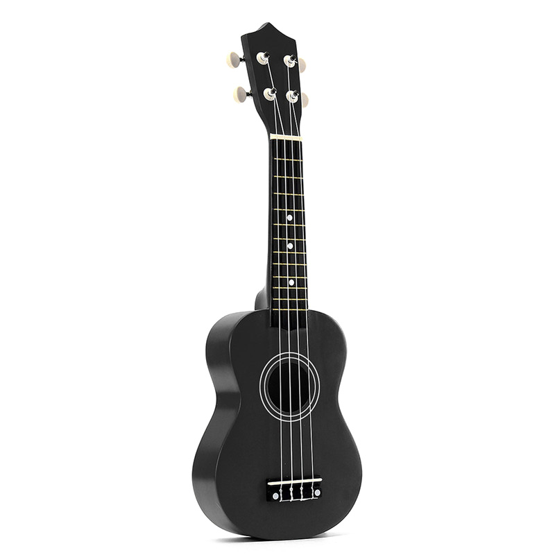 TOP!-21 Inch Soprano Ukulele 4 Strings Hawaiian Guitar Uke + String + Pick For Beginners Kid Gift(Black)