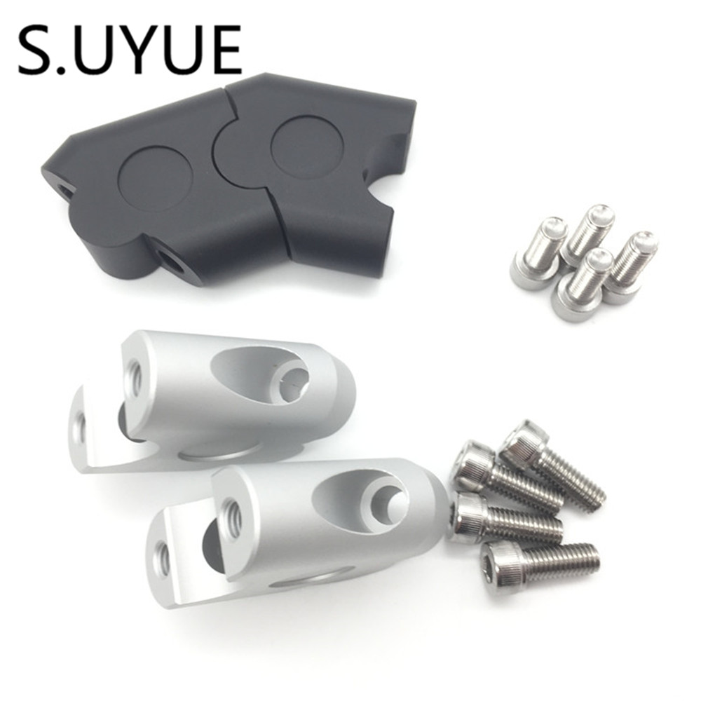 S.UYUE Anodized 2 Inch Pivoting Motorcycle Handlebar Riser For 7/8 22mm fat handleBars Clamp Universal silver universal anodized 2 inch pivoting motorcycle handlebar riser for 7 8 28mm bars clamp page 3