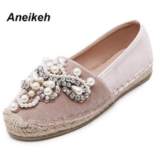 Aneikeh 2018 Spring Autumn Women Loafer Round Toe Espadrilles Pearl Comfortable Hemp Bottom Women Shoes Slip On Zapato Mujer